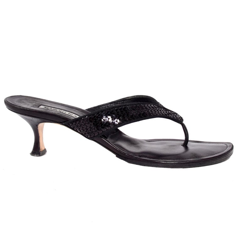 4e7e6b054 Manolo Blahnik Shoes Black Leather Thong Sandals With Sequins   Heels 38.5  For Sale 3