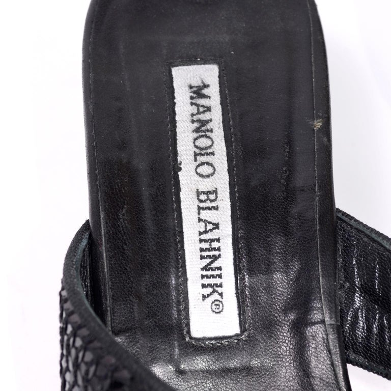 5b1a561ac Manolo Blahnik Shoes Black Leather Thong Sandals With Sequins   Heels 38.5  For Sale 5