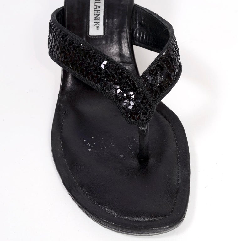 69ac09bc9 Manolo Blahnik Shoes Black Leather Thong Sandals With Sequins   Heels 38.5  For Sale 6