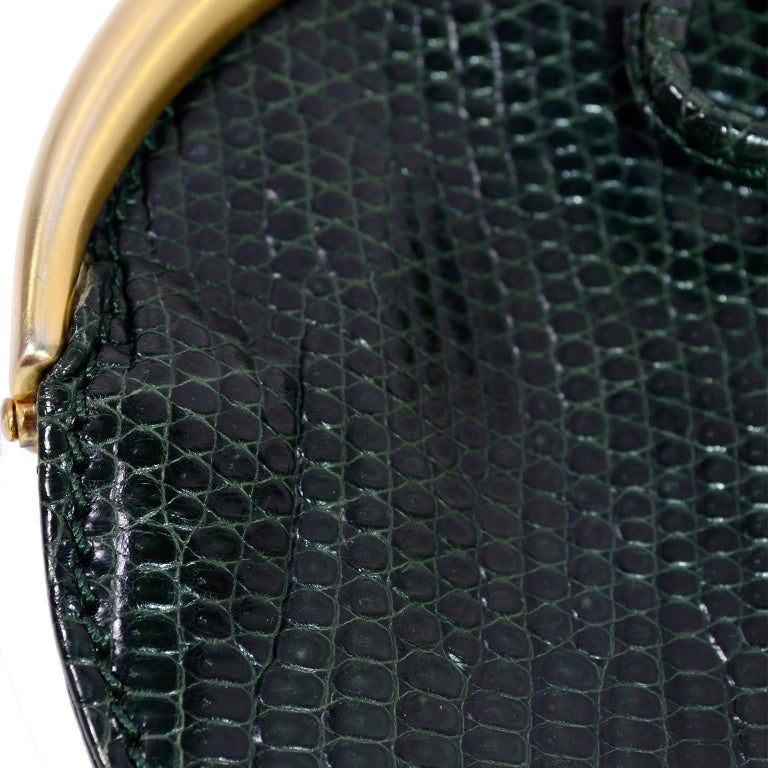 Black Gucci Small Round Green Snakeskin Handbag Or Purse With Hook And Chain For