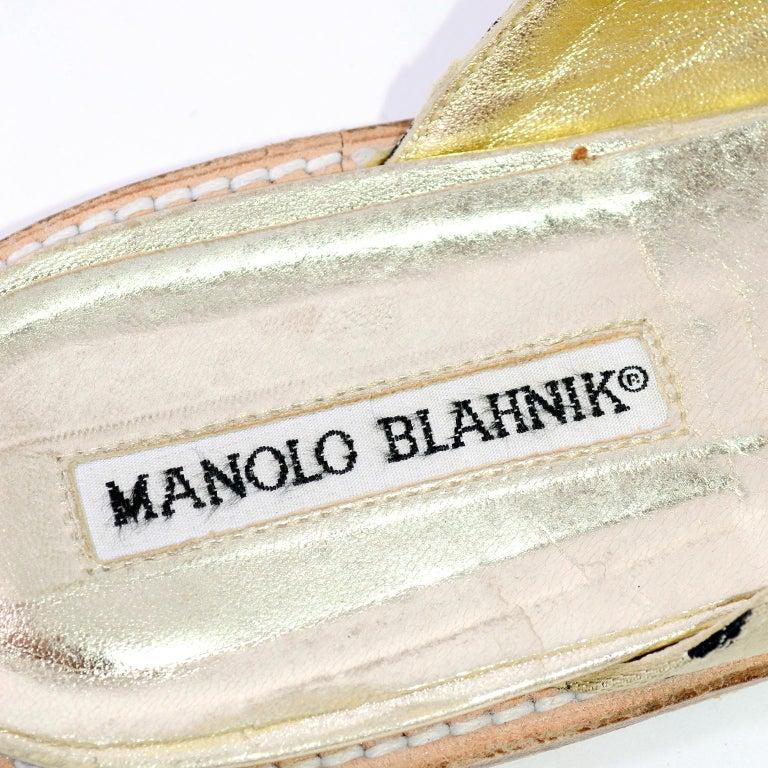 Manolo Blahnik Cheetah Print Gold Thong Sandals Size 38.5 For Sale 3