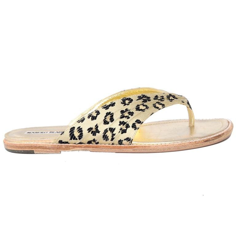 Manolo Blahnik Cheetah Print Gold Thong Sandals Size 38.5 For Sale 7