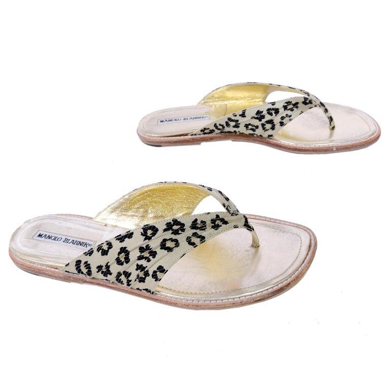 Women's Manolo Blahnik Cheetah Print Gold Thong Sandals Size 38.5 For Sale