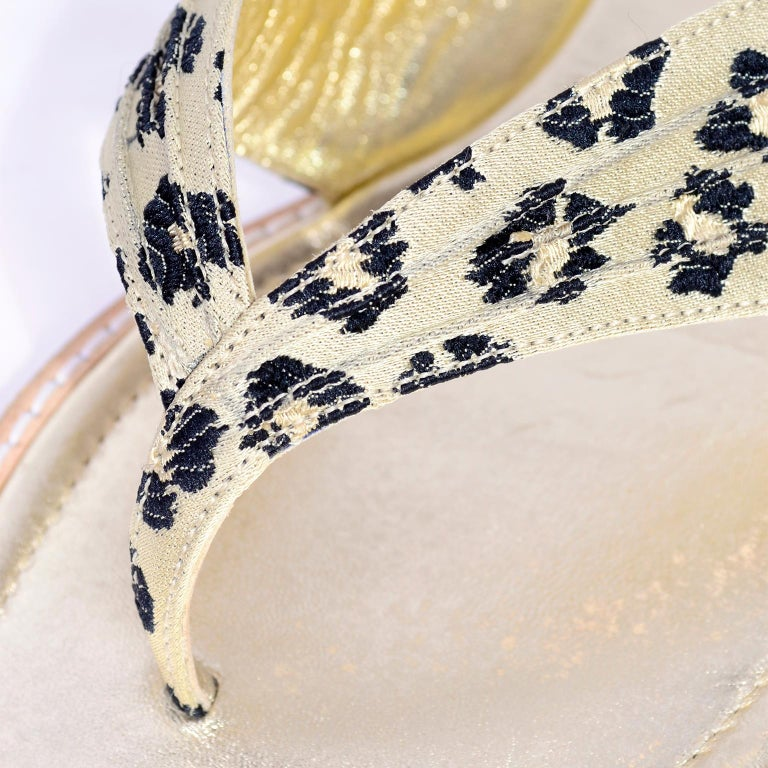Manolo Blahnik Cheetah Print Gold Thong Sandals Size 38.5 For Sale 1