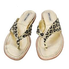 Manolo Blahnik Cheetah Print Gold Thong Sandals Size 38.5