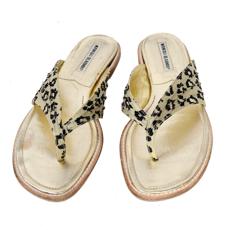 16121556257145 Manolo Blahnik Cheetah Print Gold Thong Sandals Size 38.5 For Sale at  1stdibs
