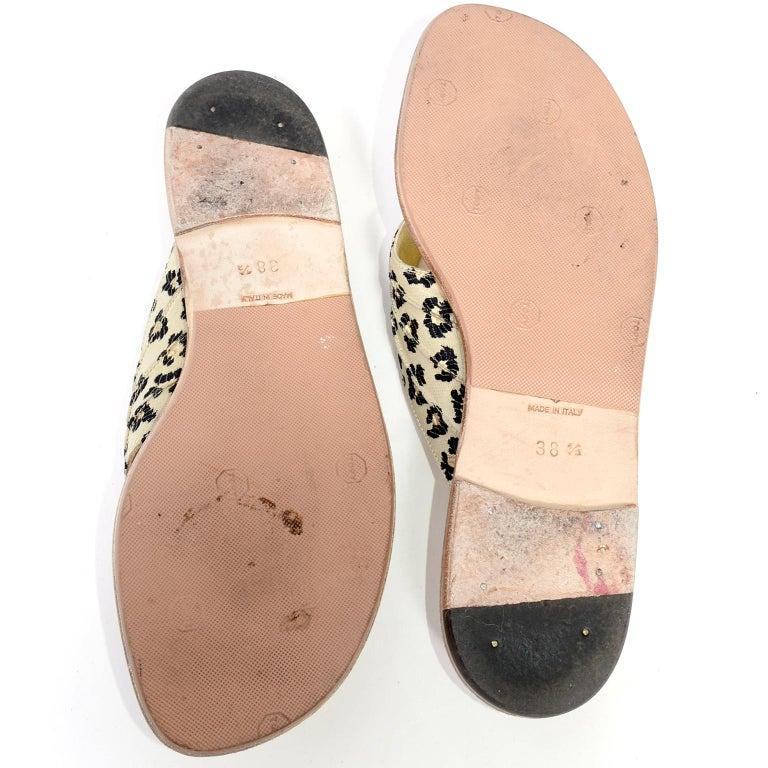 Manolo Blahnik Cheetah Print Gold Thong Sandals Size 38.5 For Sale 4