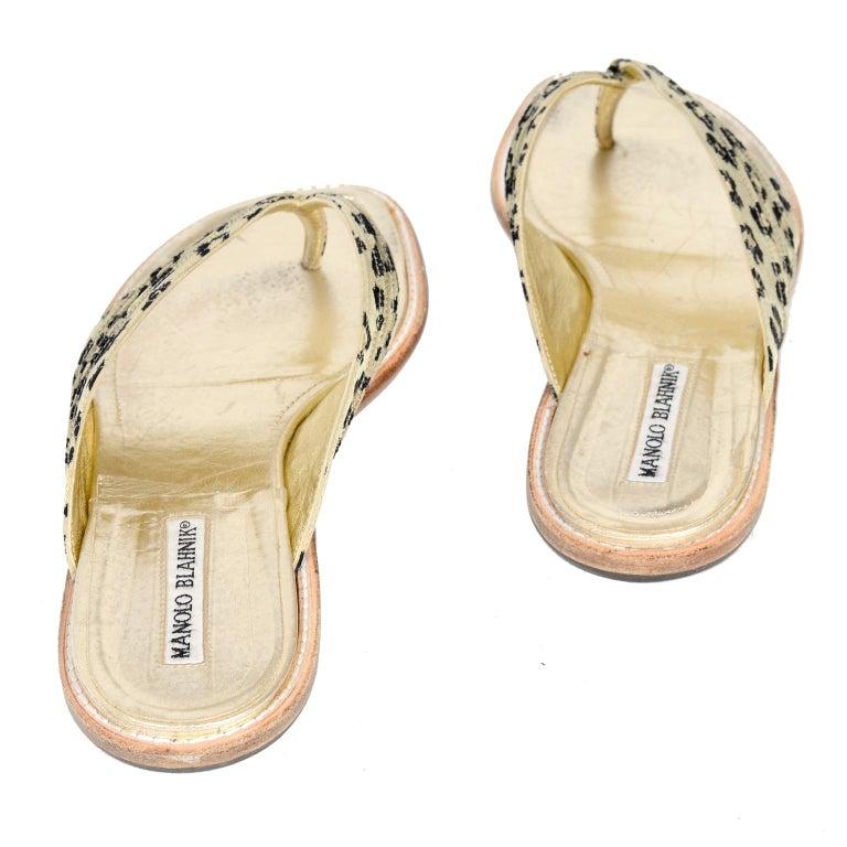 Manolo Blahnik Cheetah Print Gold Thong Sandals Size 38.5 For Sale 6