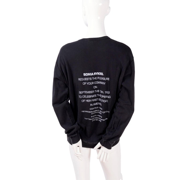 Women's or Men's Rare Vintage Sonia Rykiel 1983 Sweatshirt Invitation to 1st US Boutique Opening  For Sale