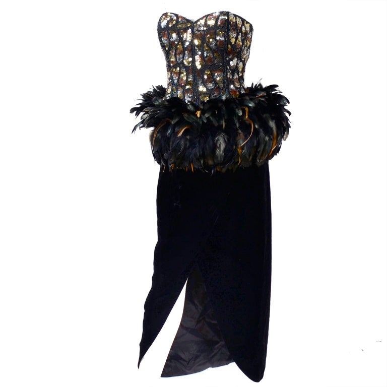 Victor Costa Bergdorf Goodman Beaded Sequined Feathered Vintage Dress