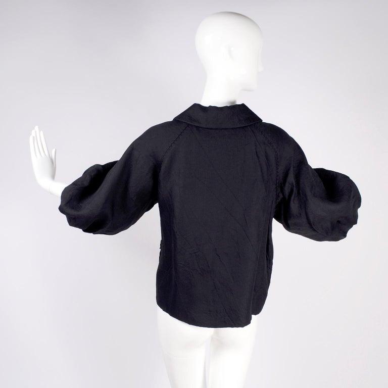 Alber Elbaz 2006 Lanvin Jacket / Top in Black Silk w/ Blouson Sleeves  For Sale 2