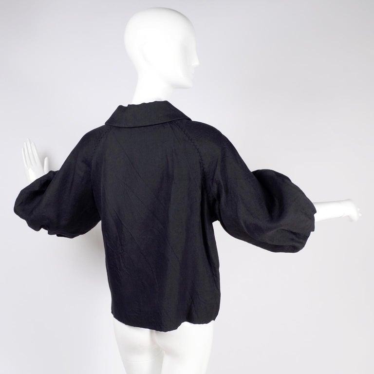 Alber Elbaz 2006 Lanvin Jacket / Top in Black Silk w/ Blouson Sleeves  For Sale 5