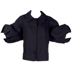 Alber Elbaz 2006 Lanvin Jacket / Top in Black Silk w/ Blouson Sleeves
