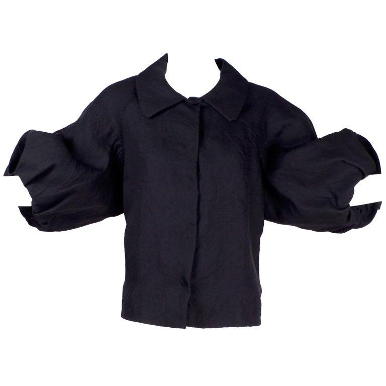 Alber Elbaz 2006 Lanvin Jacket / Top in Black Silk w/ Blouson Sleeves