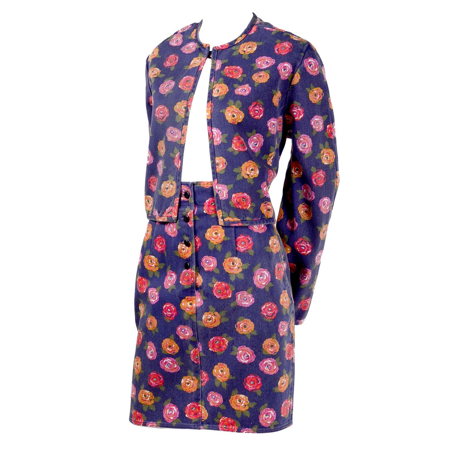 1990s Ungaro Vintage Skirt & Jacket Suit in Blue Denim W Pink Red & Orange Roses