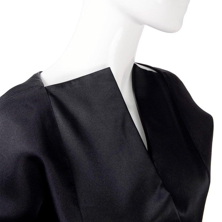 Vintage Black Geoffrey Beene Dress W/ Detailed Origami Folds & Styling For Sale 2