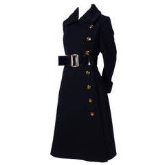 1970s Givenchy Vintage Coat in Black Wool W Curly Lambswool Trim & Belt 8