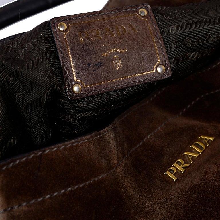 Prada Scamosciato Handbag in Chocolate Brown Suede Shoulder Bag For ... 868d03553b7ed