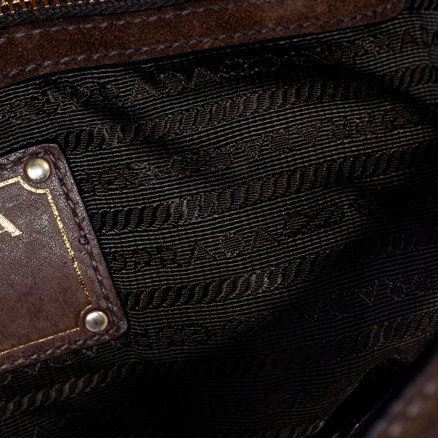 d3df3d15c6dedf Prada Scamosciato Handbag in Chocolate Brown Suede Shoulder Bag For Sale at  1stdibs