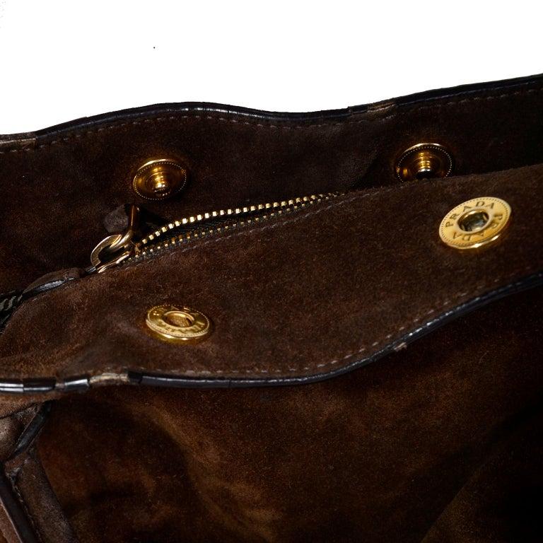 5525a7d5356c6a Prada Scamosciato Handbag in Chocolate Brown Suede Shoulder Bag For Sale 3