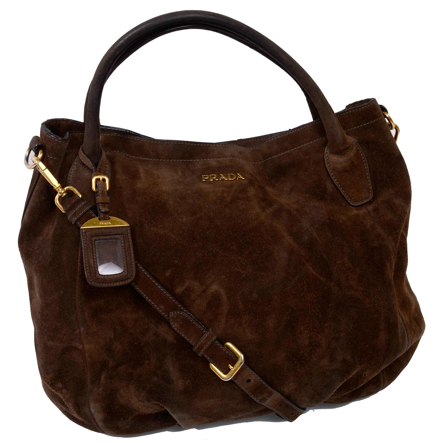 f16228301157be Prada Scamosciato Handbag in Chocolate Brown Suede Shoulder Bag For Sale at  1stdibs