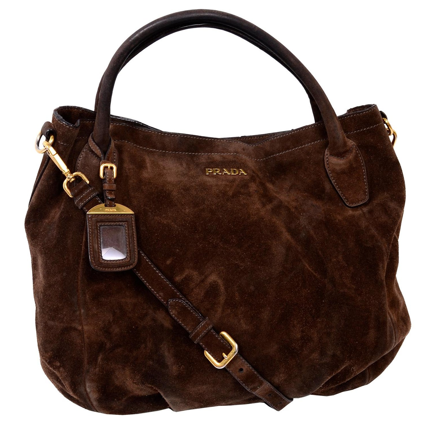 dd61a6fc3dc9 Prada Scamosciato Handbag in Chocolate Brown Suede Shoulder Bag For Sale at  1stdibs