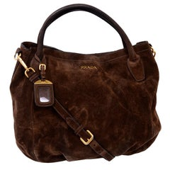 Prada Scamosciato Handbag in Chocolate Brown Suede Shoulder Bag