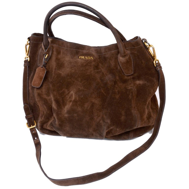 29626ad7cdabd5 This is a large Prada brown suede slouchy shoulder bag with two top handles  and a