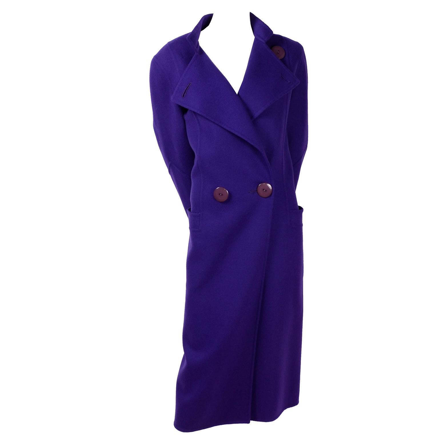 Salvatore Ferragamo Deep Purple Wool Vintage Coat