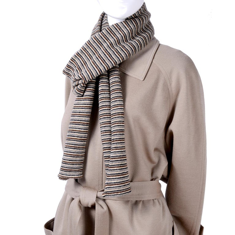 Sonia Rykiel Paris Vintage Beige Wool Trousers Coat and Scarf Pants Suit  In Excellent Condition For Sale In Portland, OR