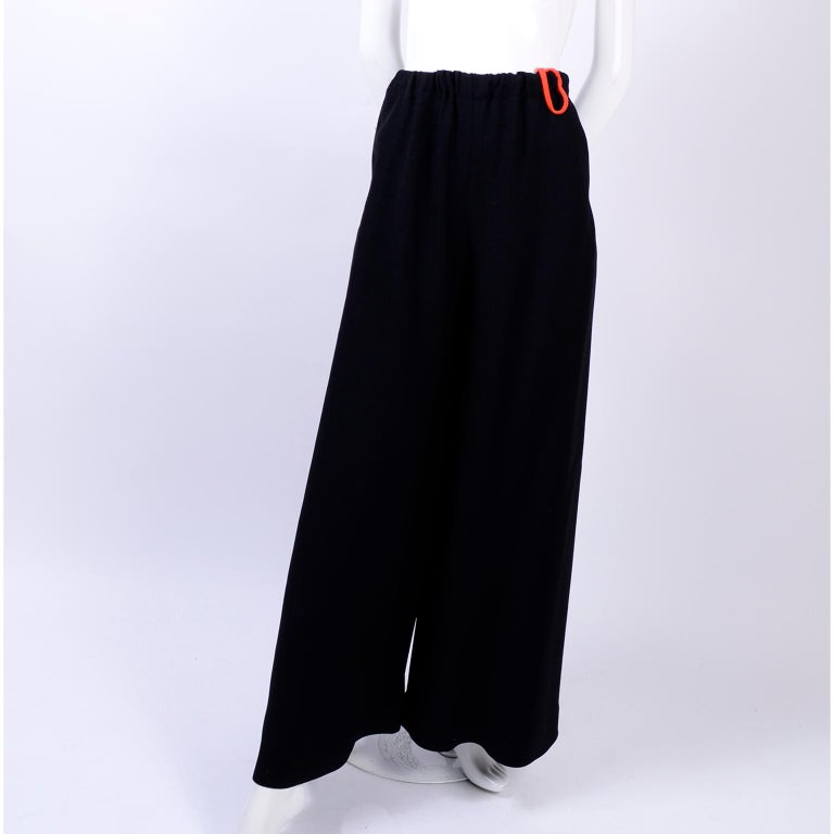 Women's 1970s Anne Klein Black Pants W/ Extra Wide Legs Evening Skirt Alternative For Sale