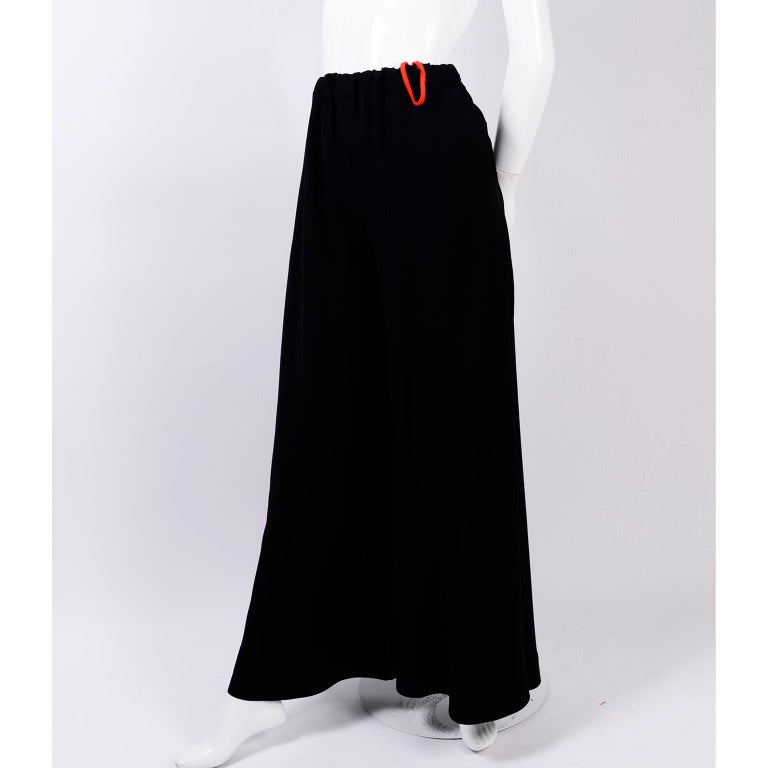 These are absolutely amazing vintage Anne Klein and Company black elastic waist pants with an extremely wide leg. Looks like a full maxi skirt when worn, each leg could make its own skirt! The extra fabric in the extremely wide legs creates tons of