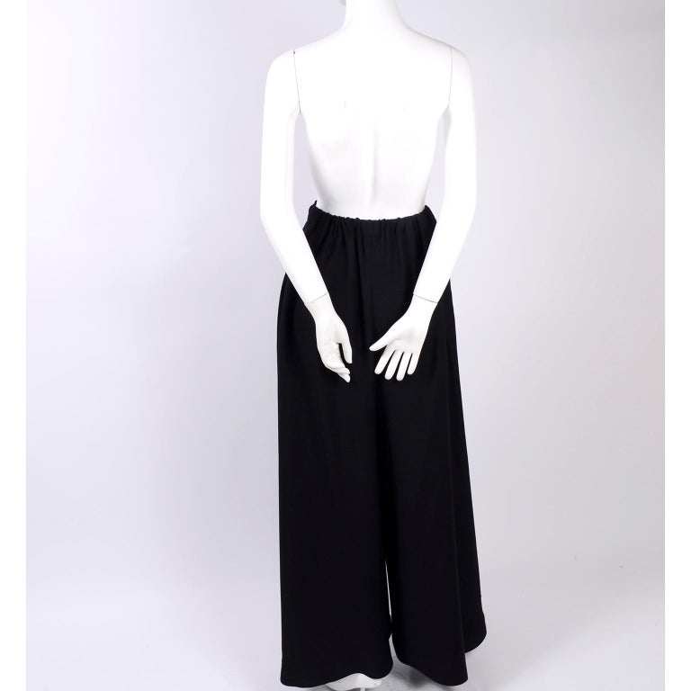 1970s Anne Klein Black Pants W/ Extra Wide Legs Evening Skirt Alternative For Sale 1