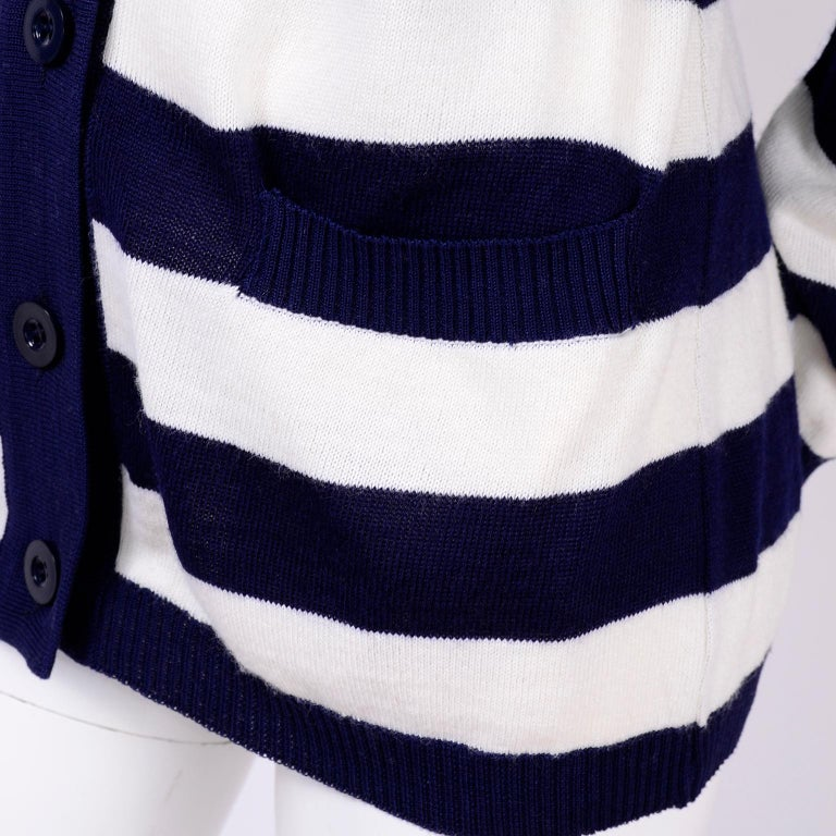 Yves Saint Laurent YSL Vintage Navy Blue White Striped Cardigan Sweater In Excellent Condition For Sale In Portland, OR