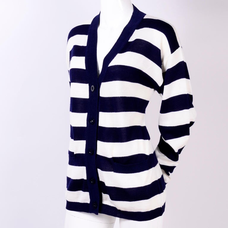 Yves Saint Laurent YSL Vintage Navy Blue White Striped Cardigan Sweater For Sale 2