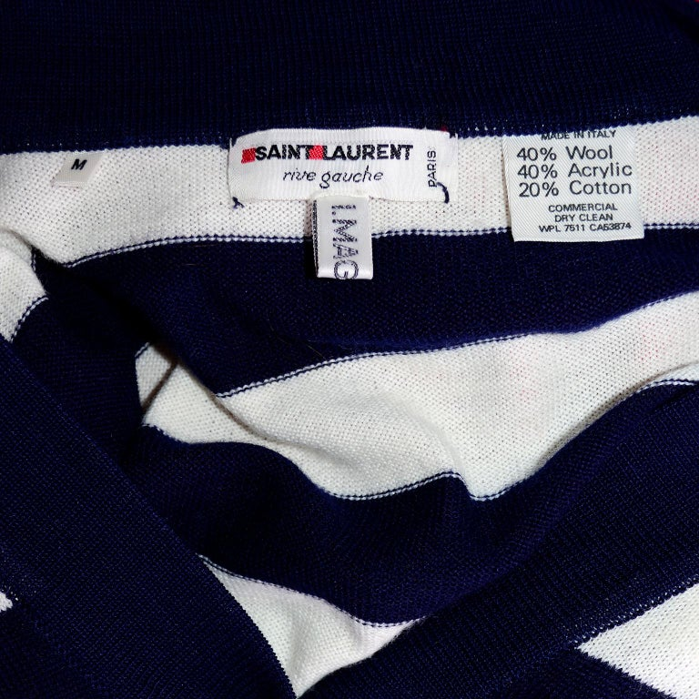 Yves Saint Laurent YSL Vintage Navy Blue White Striped Cardigan Sweater For Sale 1