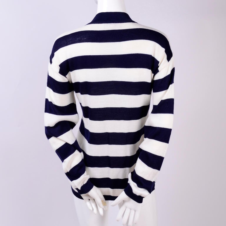 Women's Yves Saint Laurent YSL Vintage Navy Blue White Striped Cardigan Sweater For Sale