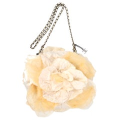Chanel Camellia Handbag in Ivory & Cream Silk & Tulle W/ Chain Strap