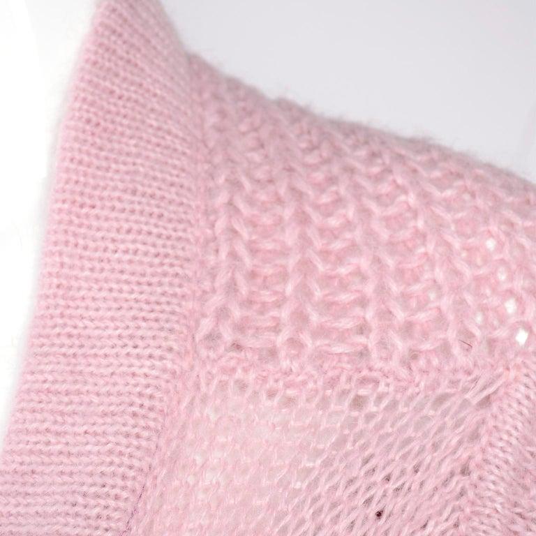 Rick Owens Long Wrap Cardigan Sweater in Pink Wool 2003 Runway Trucker  For Sale 1