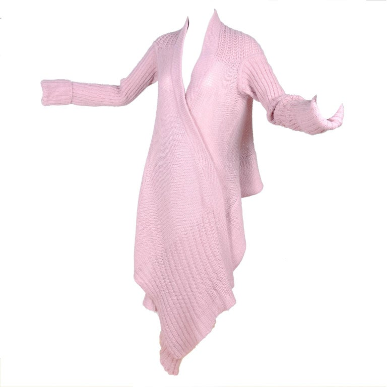 Rick Owens Long Wrap Cardigan Sweater in Pink Wool 2003 Runway Trucker  For Sale