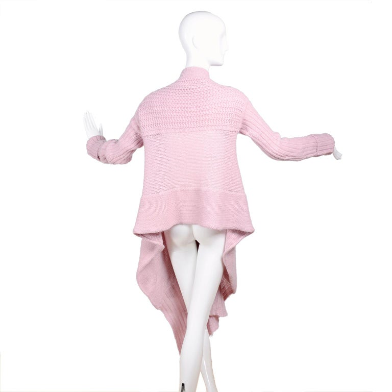 Rick Owens Long Wrap Cardigan Sweater in Pink Wool 2003 Runway Trucker  For Sale 2