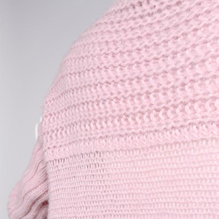 Rick Owens Long Wrap Cardigan Sweater in Pink Wool 2003 Runway Trucker  For Sale 3
