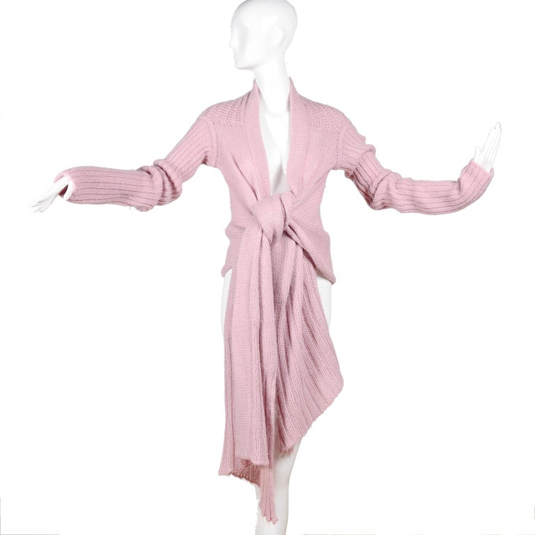 Rick Owens Long Wrap Cardigan Sweater in Pink Wool 2003 Runway Trucker  In Excellent Condition For Sale In Portland, OR