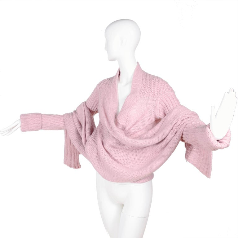 Women's Rick Owens Long Wrap Cardigan Sweater in Pink Wool 2003 Runway Trucker  For Sale