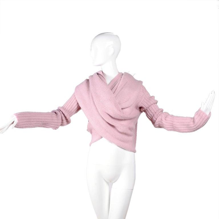 Rick Owens Long Wrap Cardigan Sweater in Pink Wool 2003 Runway Trucker  For Sale 4
