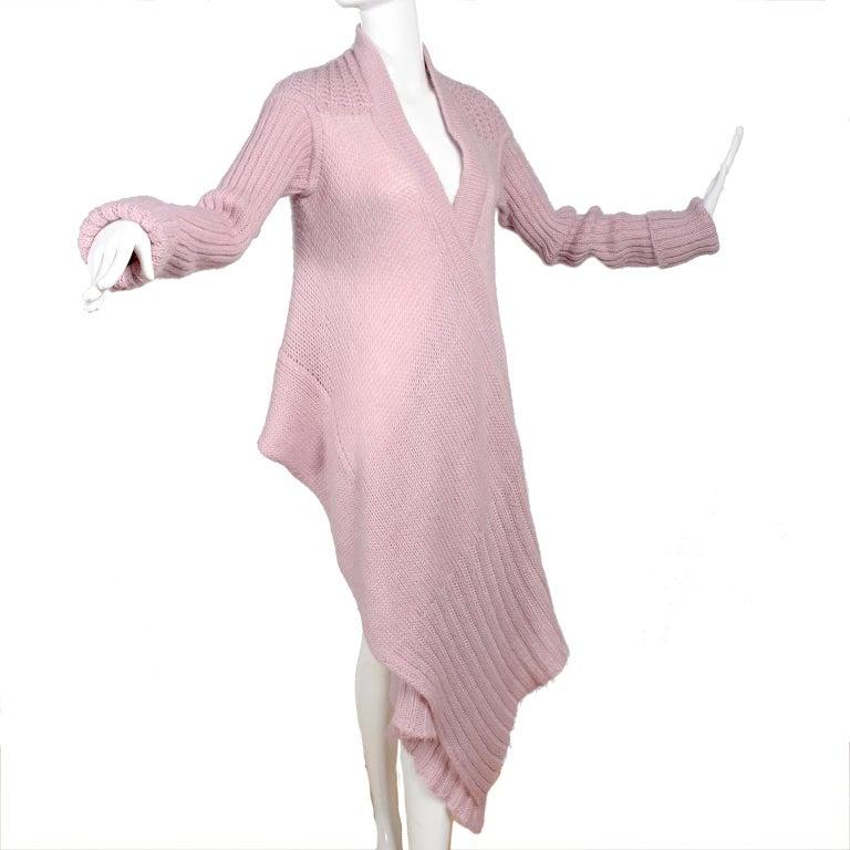 Rick Owens Long Wrap Cardigan Sweater in Pink Wool 2003 Runway Trucker  For Sale 6