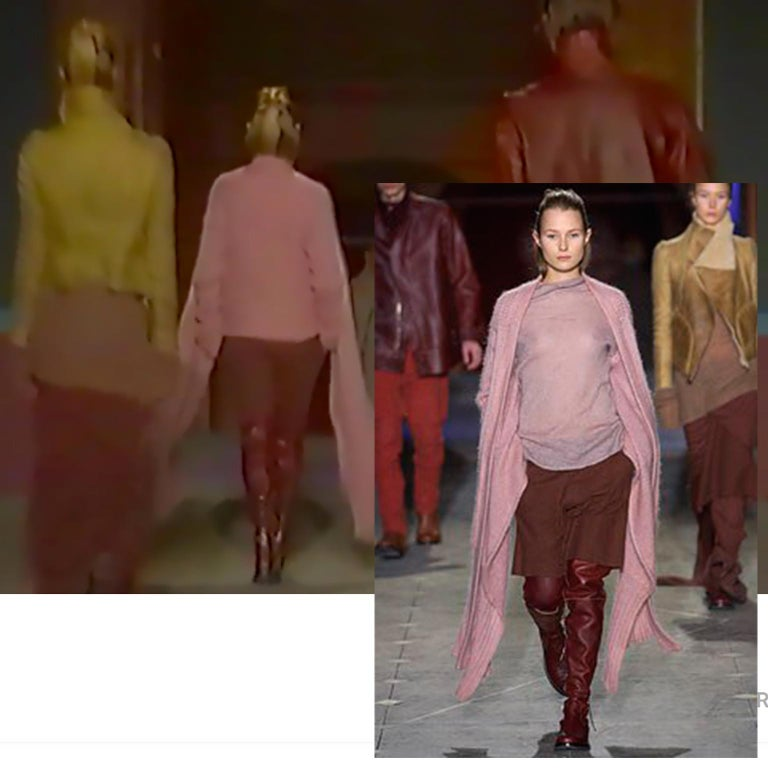 This is a fabulous pink wool knit Rick Owens sweater. This avant garde sweater is from the Rick Owens F/W 2003