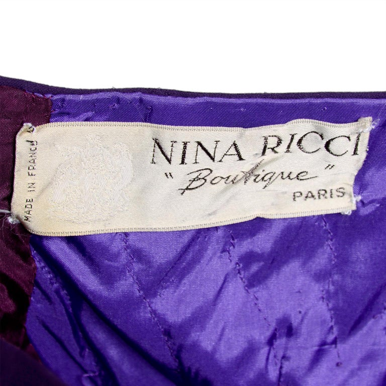 Nina Ricci Color Block Green Taffeta and Purple Silk Evening Gown with Pink Bow For Sale 3