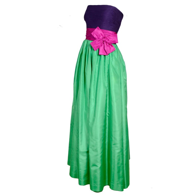 Nina Ricci Color Block Green Taffeta and Purple Silk Evening Gown with Pink Bow For Sale