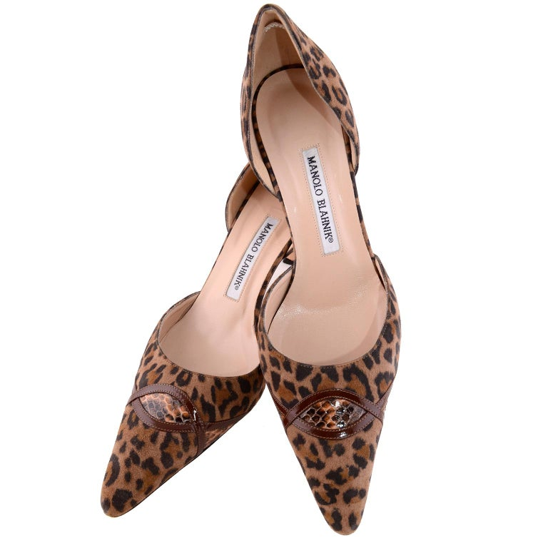 Manolo Blahnik Heels in Leopard Pony Fur W/ Snakeskin Trim Shoes 38.5 In Excellent Condition For Sale In Portland, OR